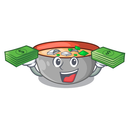 With money miso soup bowl on table character vector illustration