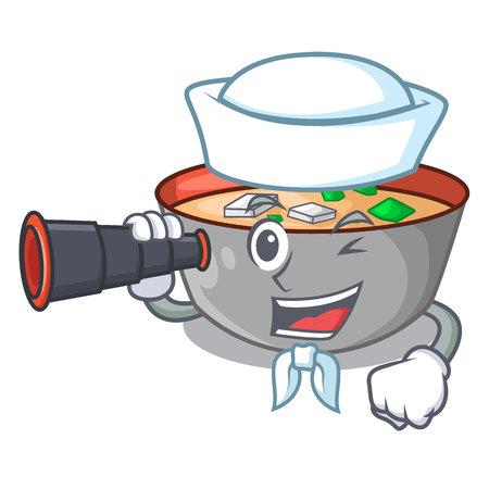 Sailor with binocular miso soup bowl on table character vector illustration Ilustração