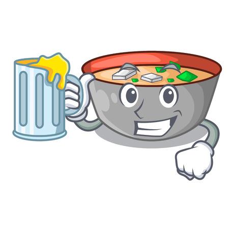With juice miso soup bowl on table character vector illustration Ilustração
