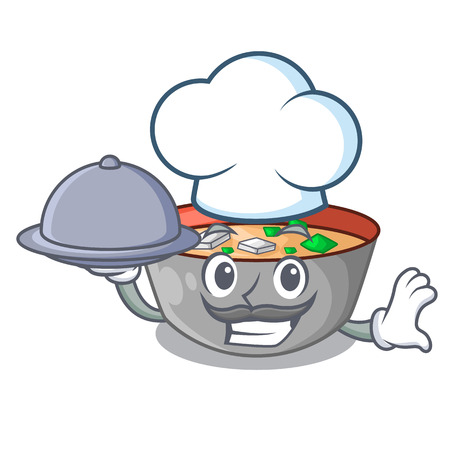 Chef with food miso soup bowl on table character vector illustration