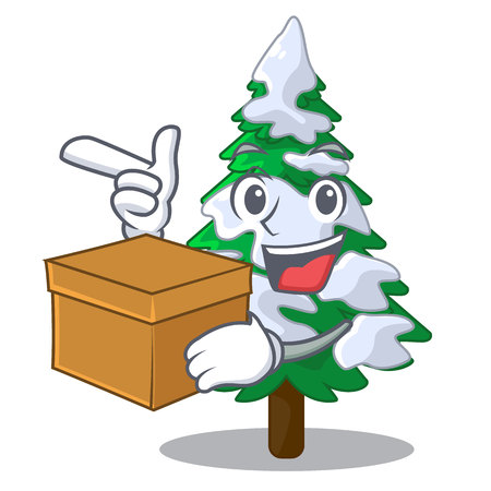 With box firs with snow on character tree vector illustration