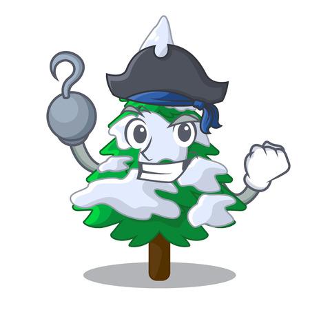 Pirate fir with snow of beautiful cartoon vector illustration
