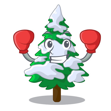 Boxing firs with snow of beautiful cartoon vector illustration