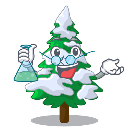 Professor firs with snow on character tree vector illustration
