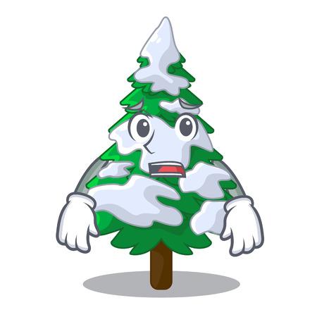 Afraid realistic fir tree in snow mascot vector illustration