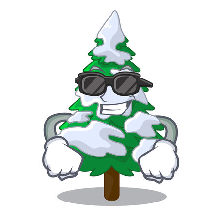 Super cool firs with snow on character tree vector illustration