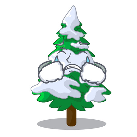 Crying realistic fir tree in snow mascot vector illustration