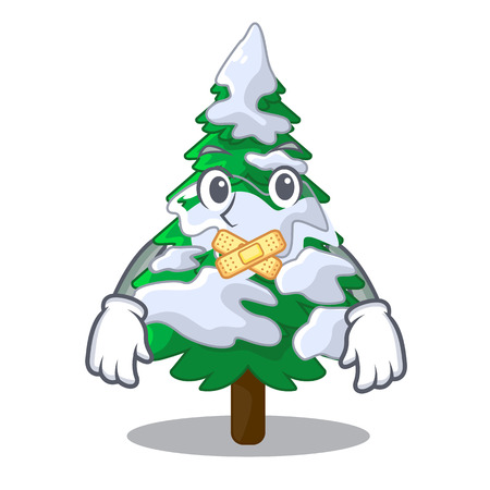 Silent fir with snow christmas tree cartoon vector illustration