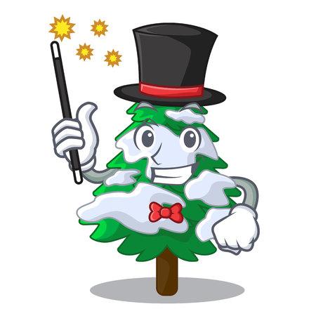 Magician fir with snow christmas tree cartoon vector illustration
