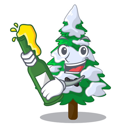 With beer fir with snow christmas tree cartoon vector illustration