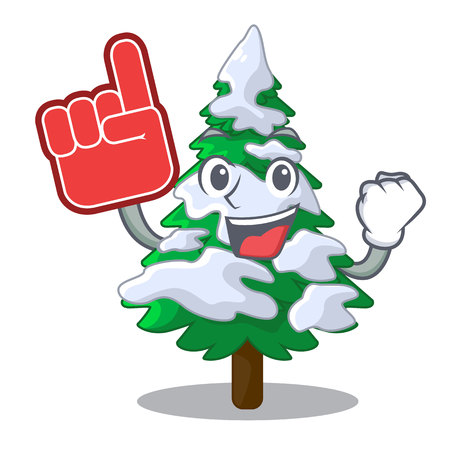 Foam finger fir with snow christmas tree cartoon vector illustration