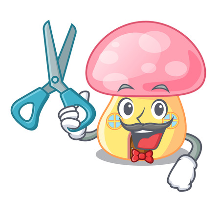 Barber mushroom in isolated on mascot vector illustration