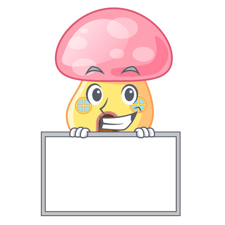 Grinning with board house mushroom in isolated on mascot vector illustration