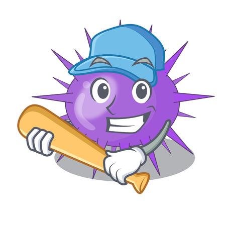 Playing baseball sea urchin drawing engraving ink cartoon vector illustration