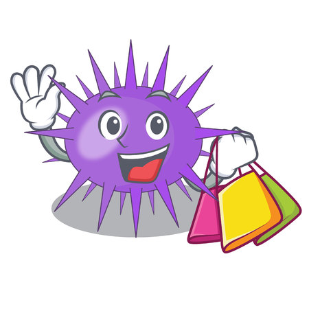 Shopping Sea urchin commonly called in cartoon vector illustration