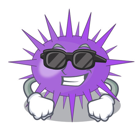 Super cool Sea urchin commonly called in cartoon vector illustration