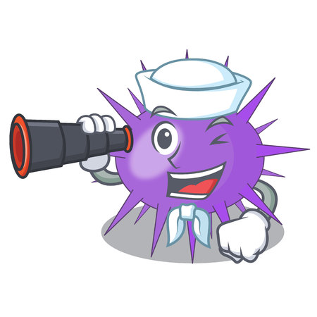 Sailor with binocular underwater scenery on mascot sea urchin vector illustration 일러스트