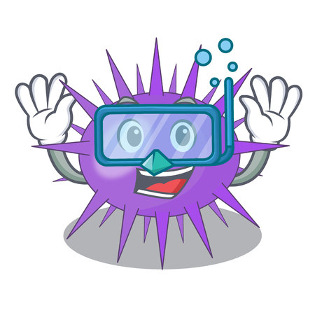 Diving Sea urchin commonly called in cartoon vector illustration