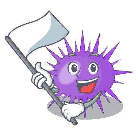 With flag sea urchin isolated on a character vector illustration Ilustração