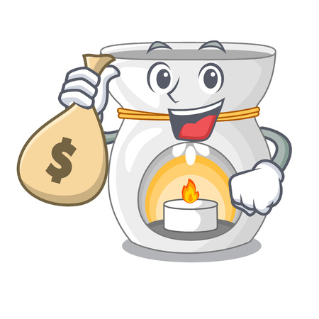 With money bag aroma lamp in a cartoon versions vector illustration
