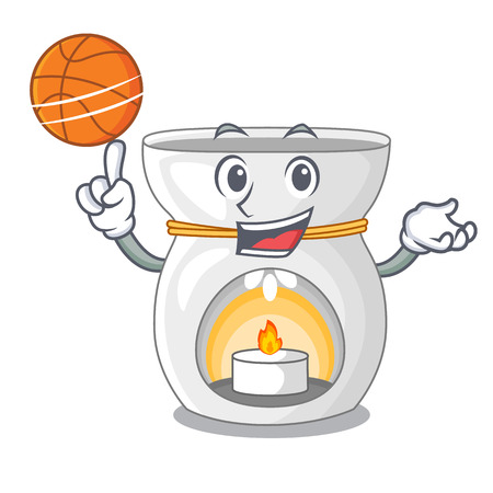 With basketball aroma lamp in a cartoon versions vector illustration
