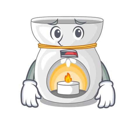 Afraid aroma lamp with burning candle mascot vector illustration