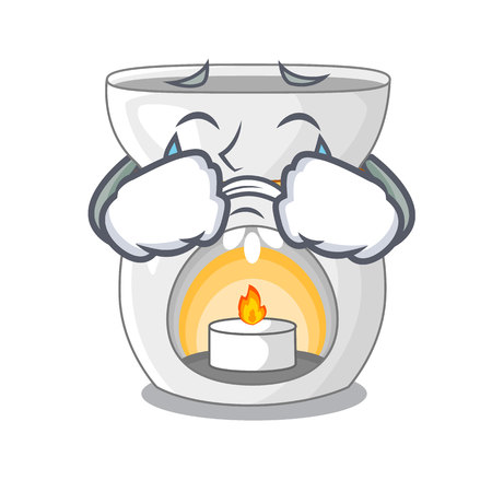 Crying aroma lamp with burning candle mascot vector illustration Illustration