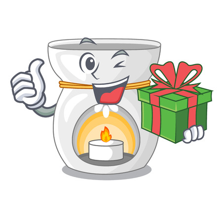 With gift aroma lamp with burning candle mascot vector illustration Illustration