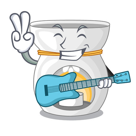 With guitar aroma lamp with burning candle mascot vector illustration Illustration
