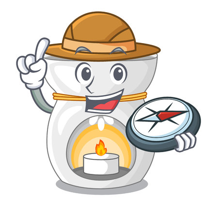 Explorer aroma lamp with burning candle mascot vector illustration Illustration