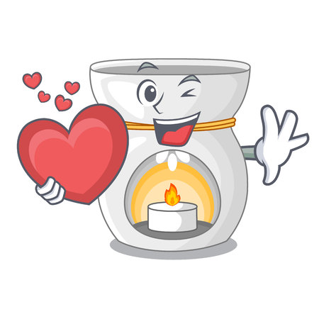 With heart aroma lamp with burning candle mascot vector illustration Illustration