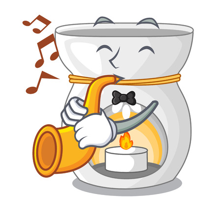 With trumpet aroma lamp with burning candle mascot vector illustration Illustration