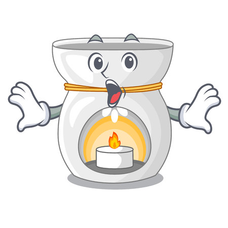 Surprised aroma lamp with burning candle mascot vector illustration