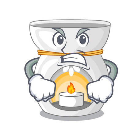 Angry aroma lamp with burning candle mascot vector illustration