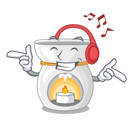 Listening music aroma lamp with burning candle mascot vector illustration