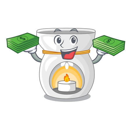 With money aroma lamp with burning candle mascot vector illustration