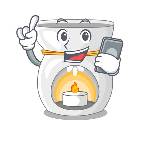 With phone aroma lamp in a cartoon versions vector illustration