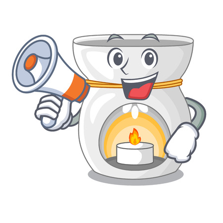 With megaphone aroma lamp in a cartoon versions vector illustration Illustration