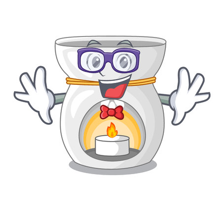 Geek therapy aroma lamp and candle character vector illustration
