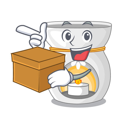 With box therapy aroma lamp and candle character vector illustration Illustration