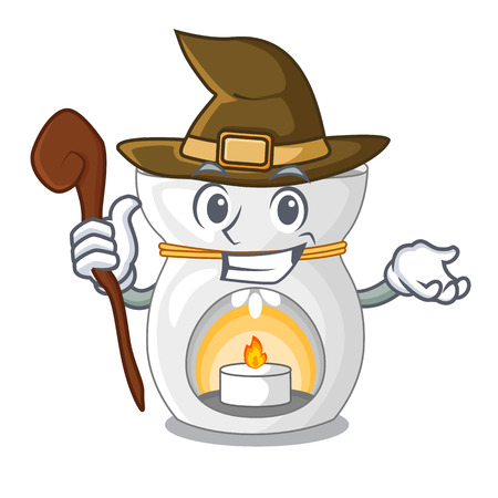 Witch aroma lamp with burning candle mascot vector illustration