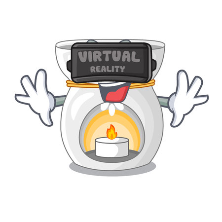 Virtual reality aroma lamp with burning candle mascot vector illustration