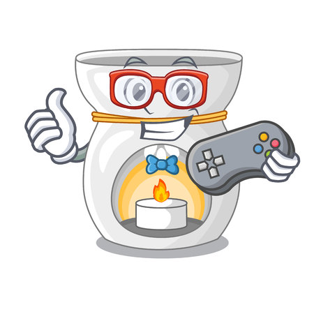 Gamer aroma lamp with burning candle mascot vector illustration