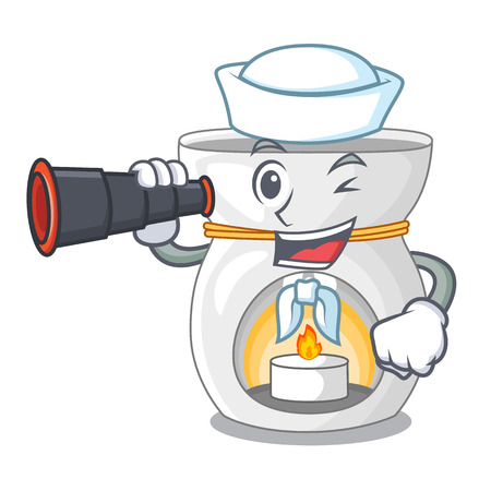 Sailor with binocular aroma lamp with burning candle mascot vector illustration