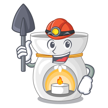 Miner aroma lamp with burning candle mascot vector illustration Illustration