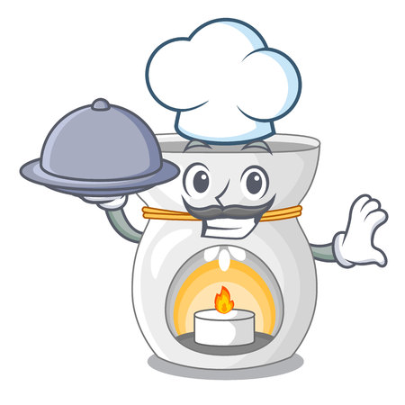 Chef with food aroma lamp with burning candle mascot vector illustration