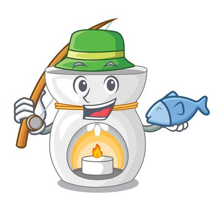 Fishing aroma lamp with burning candle mascot vector illustration Illustration