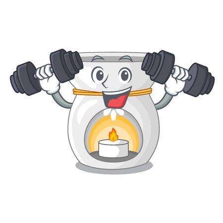Fitness aroma lamp in a cartoon versions vector illustration