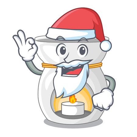 Santa aroma therapy lamp with flower cartoon vector illustration