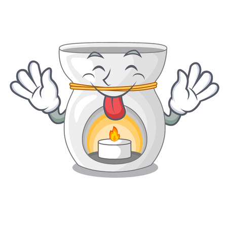Tongue out aroma therapy lamp with flower cartoon vector illustration Banque d'images - 127180296